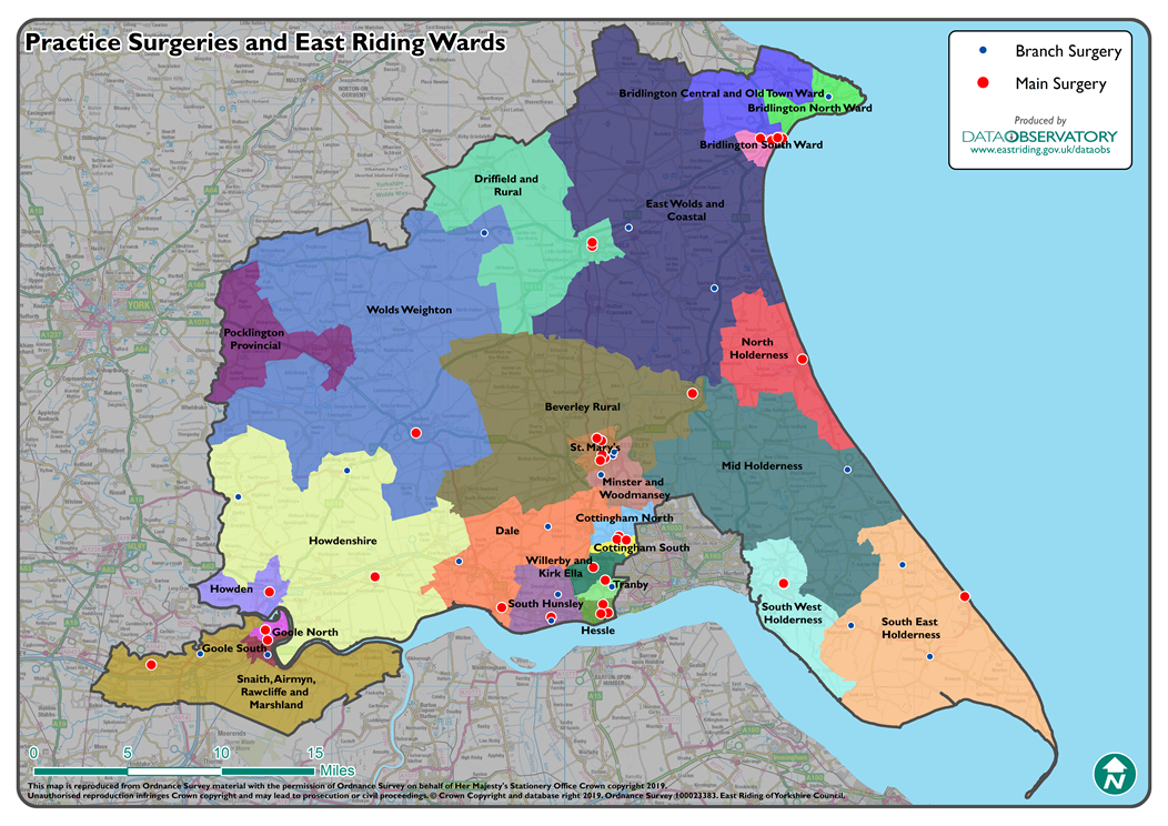 Map of the area covered by NHS East Riding of Yorkshire CCG