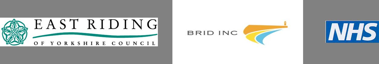 East Riding of Yorkshire Council logo, Brid Inc logo, NHS logo