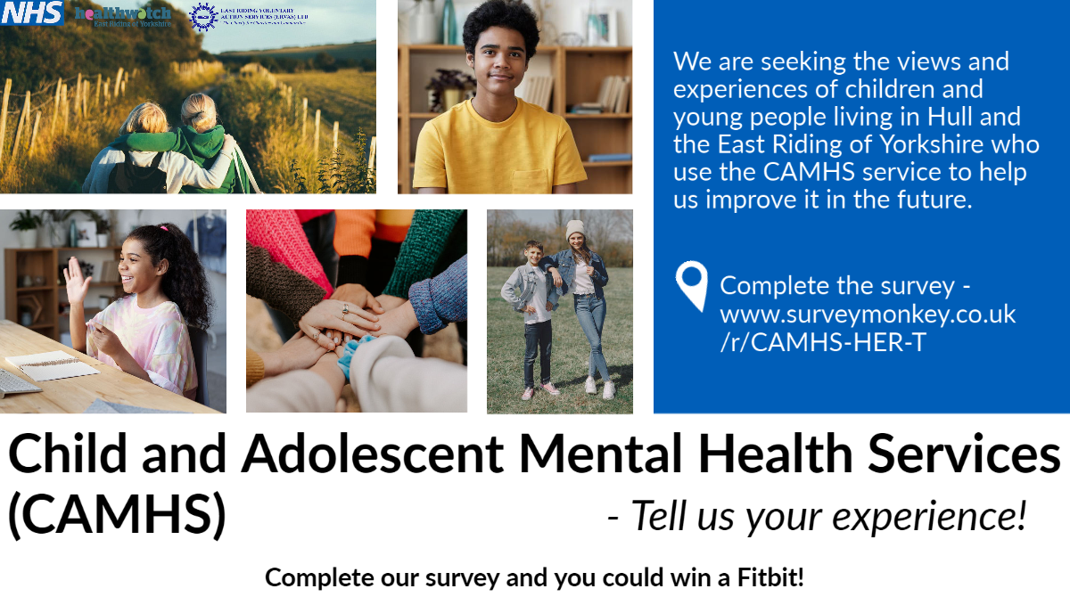 We are seeking the views and experiences of children and young people living in Hull and the East Riding of Yorkshire who use the CAMHS service to help us improve it in the future.