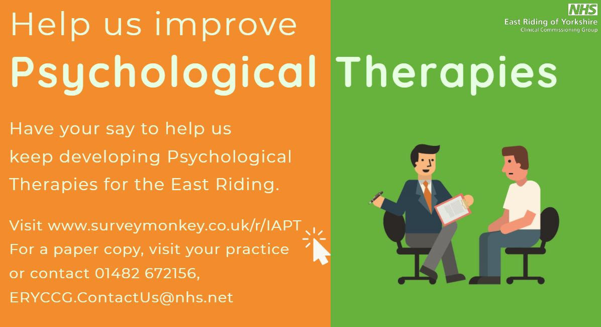 Help us improve psychological therapies. Have your say to help us keep developing psychological therapies for the East Riding.