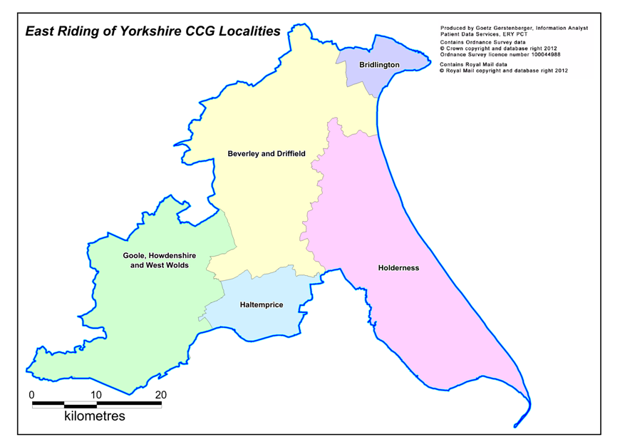 Map of NHS East Riding of Yorkshire CCG's localities