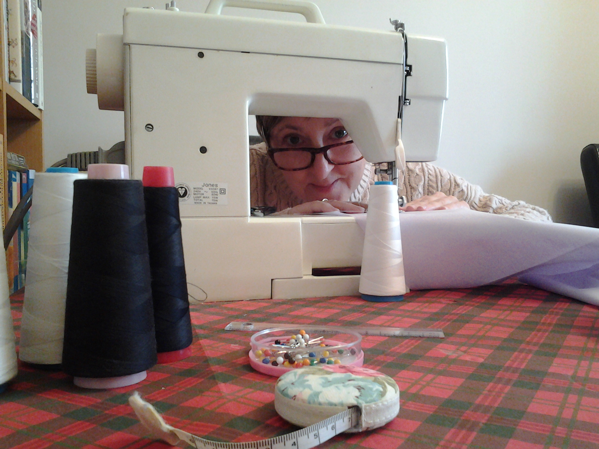 Avril at the sewing machine