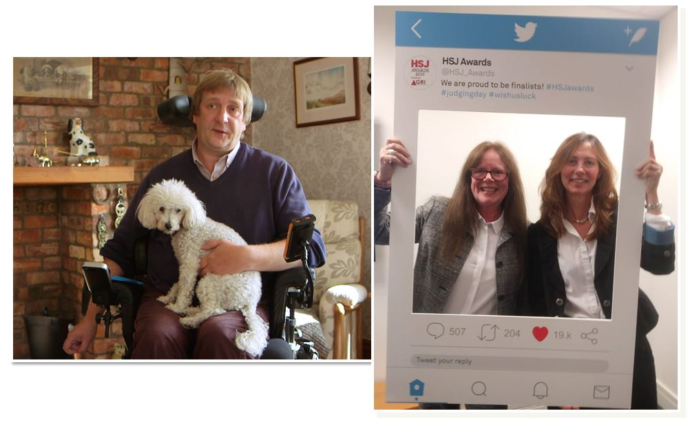 Person with a dog and two people holding a Twitter frame