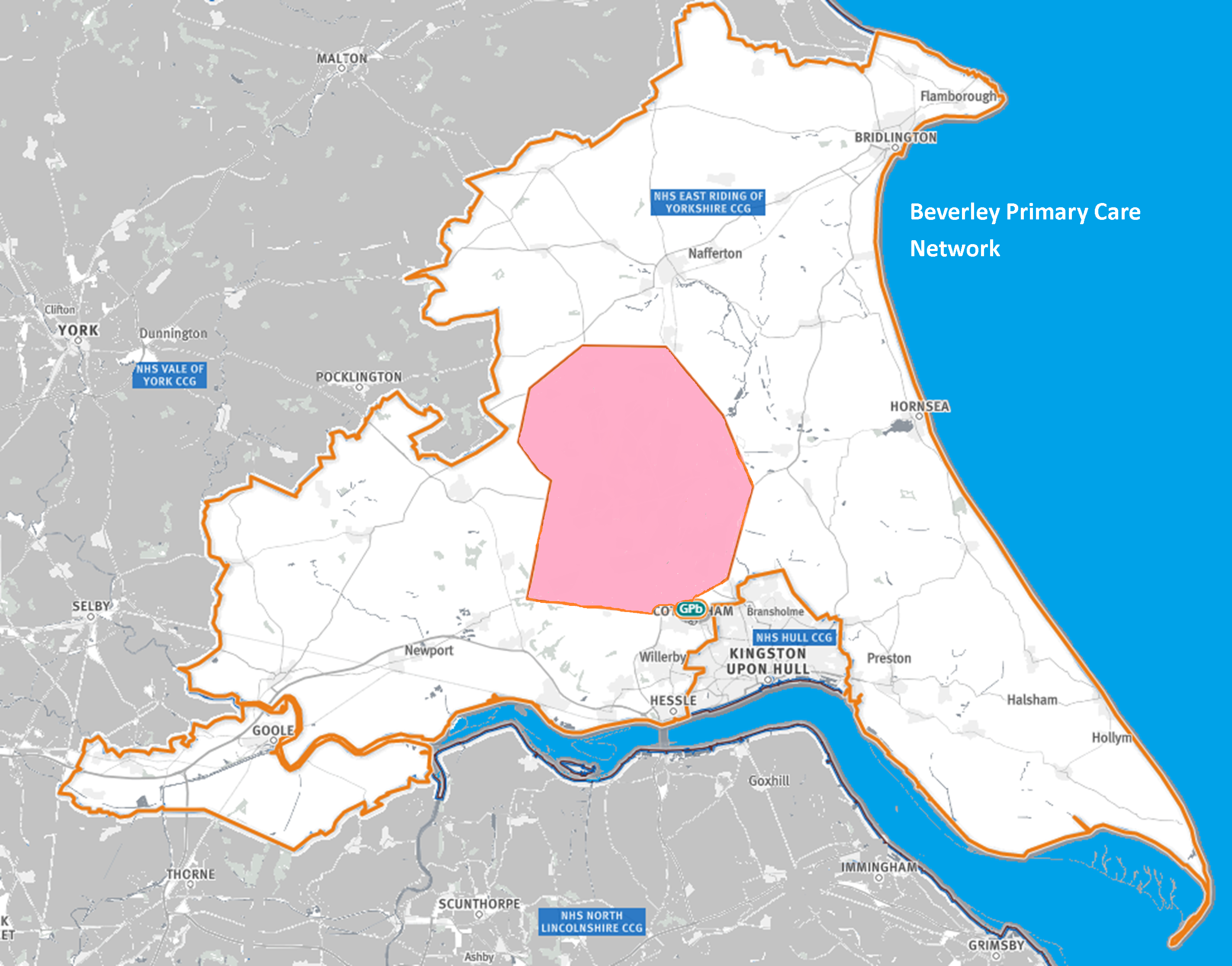 Map of the area covered by the Beverley PCN