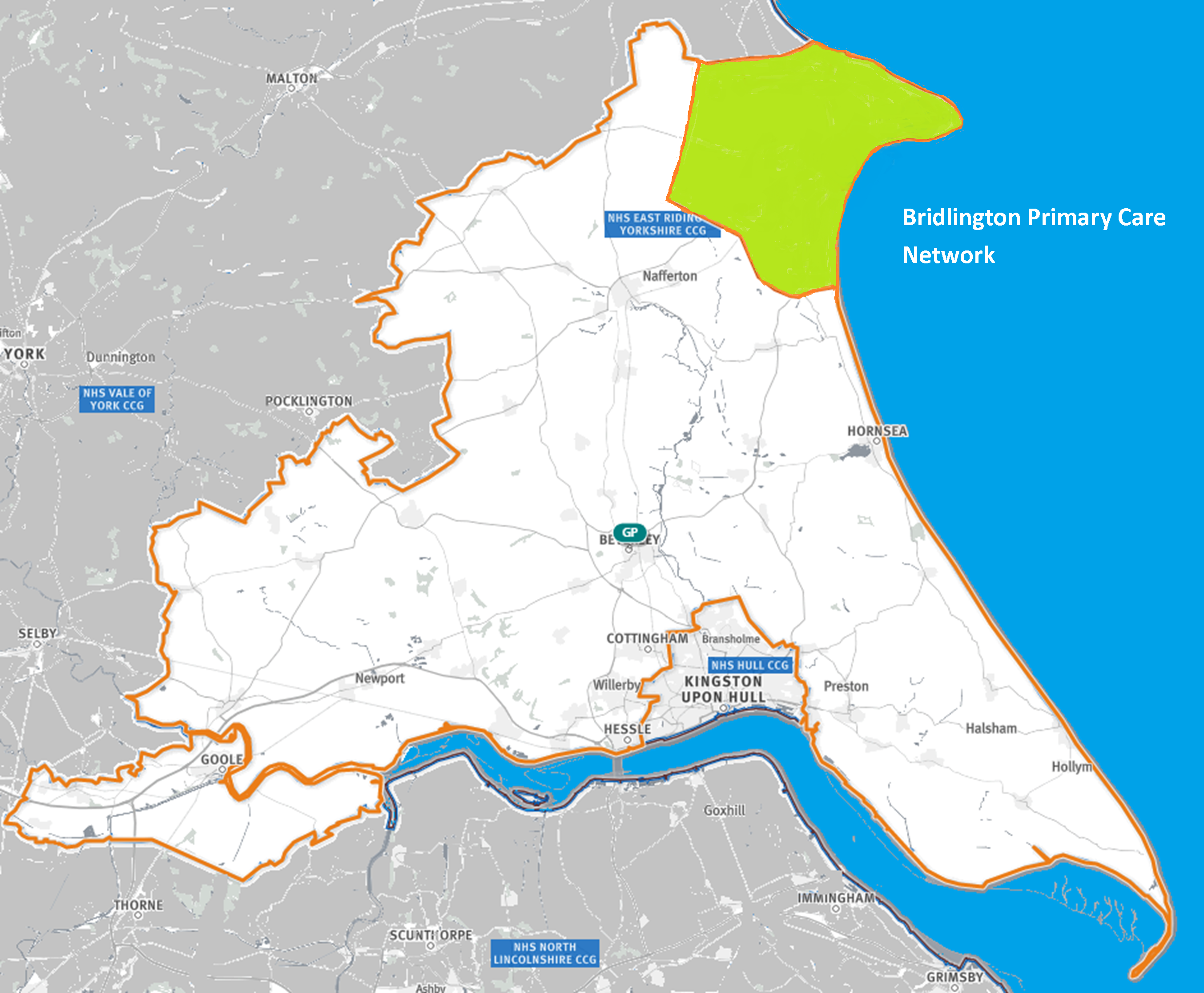 Map of the area covered by the Bridlington PCN