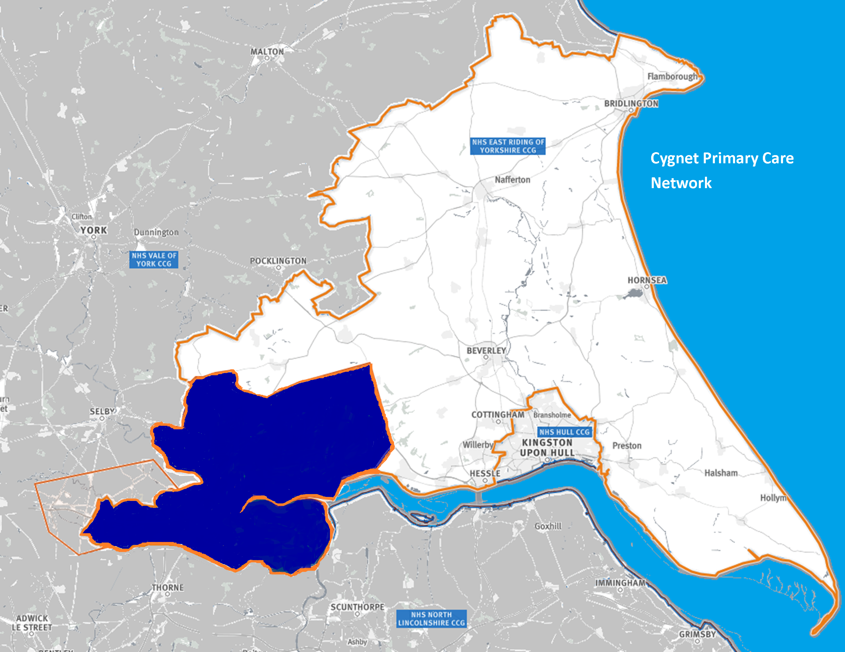 Map of the area covered by the Cygnet PCN