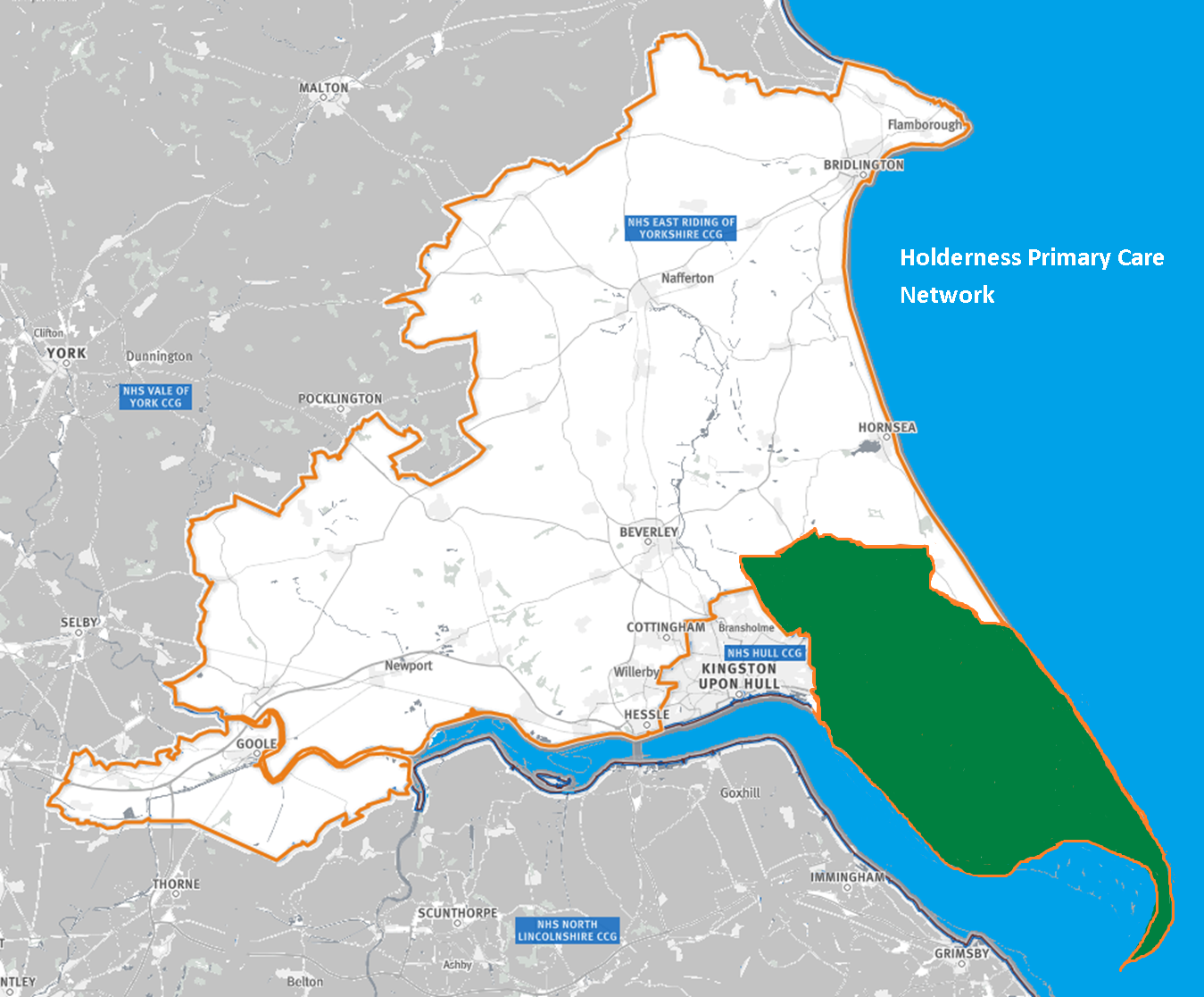 Map of the area covered by the Holderness PCN