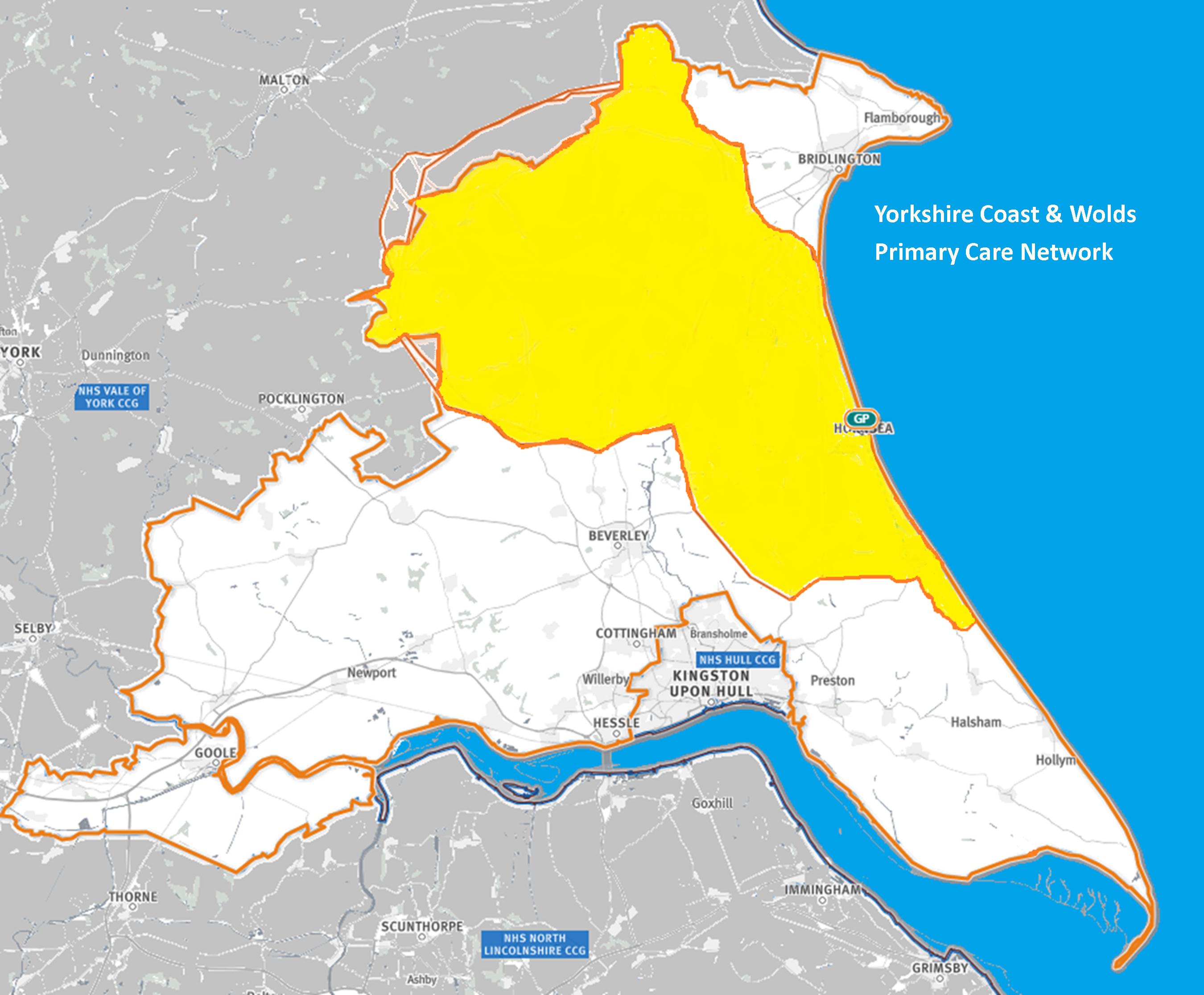 Map of the area covered by the Yorkshire Coast and Wolds PCN