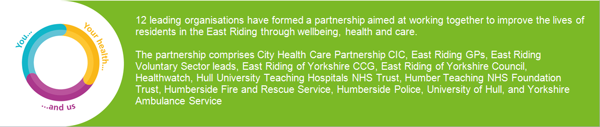 12 leading organisations have formed a partnership aimed at working together to improve the lives of residents in the East Riding through wellbeing, health and care.