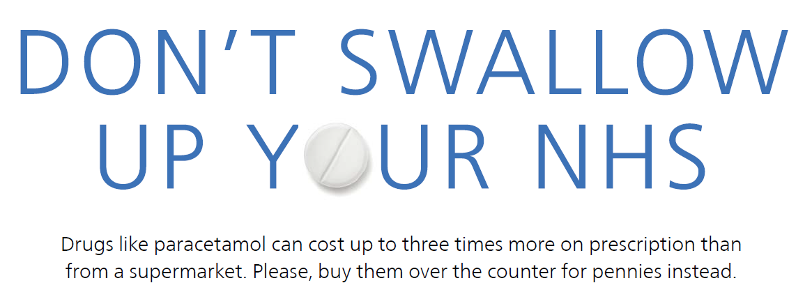 Don't swallow up your NHS. Drugs like paracetamol can cost up to three times more on prescription than from a supermarket. Please, buy them over the counter for pennies instead.