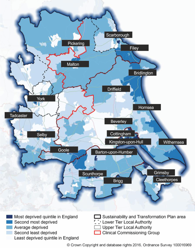 A graphic detailing the most and least deprived areas across the Humber, Coast and Vale area.