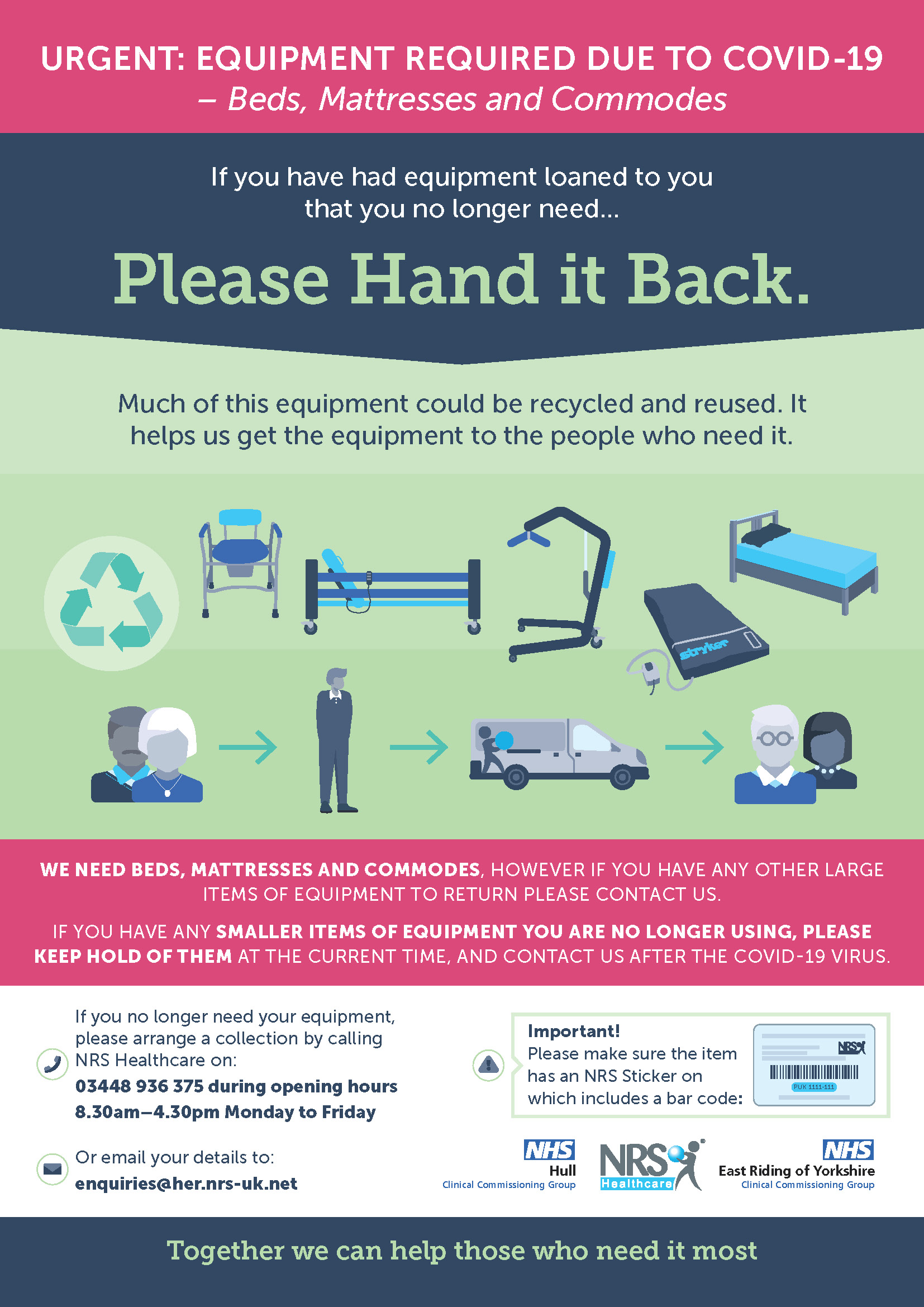 If you have had equipment loaned to you that you no longer need, please return it by contacting NRS Healthcare on 03448 936 375 between 8:30am – 4:30pm Monday to Friday or email enquiries@her.nrs-uk.net.